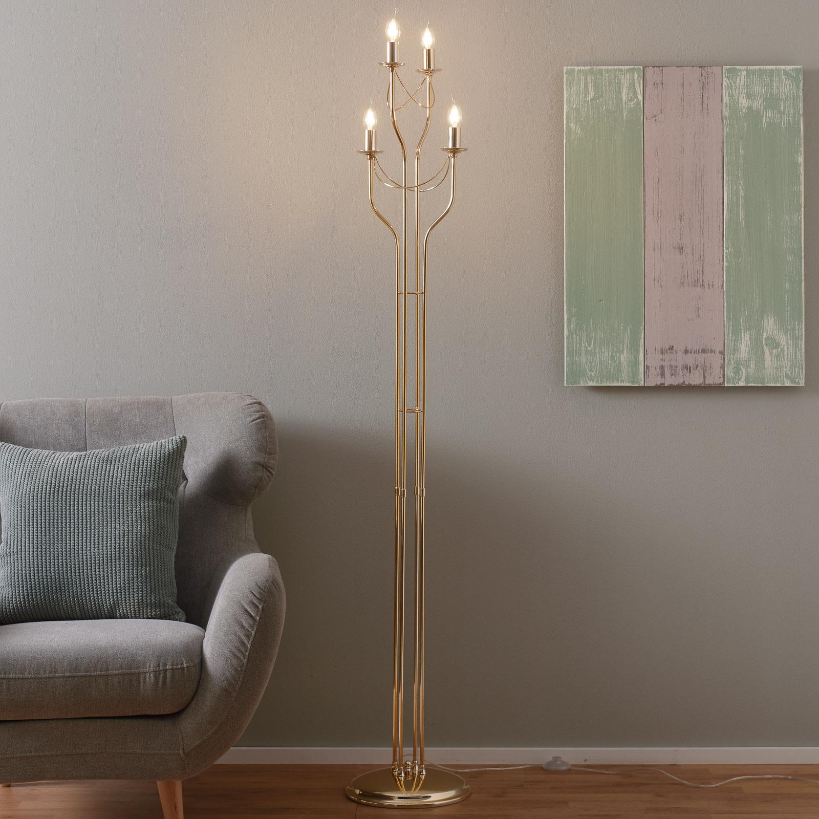 Lampa stojąca retro, piękna, złote wykończenie
