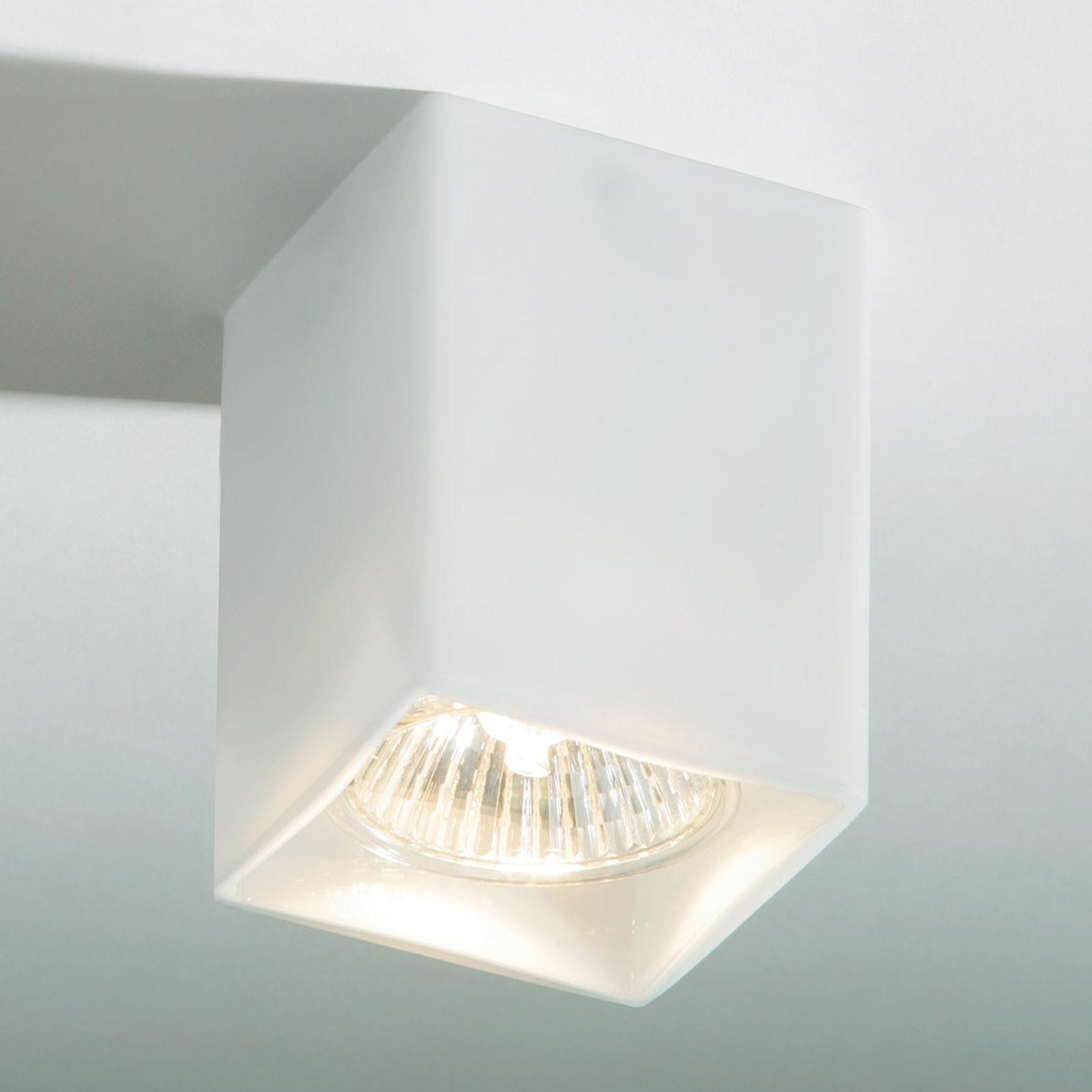 Hoekige plafondlamp QUADRO van wit glas
