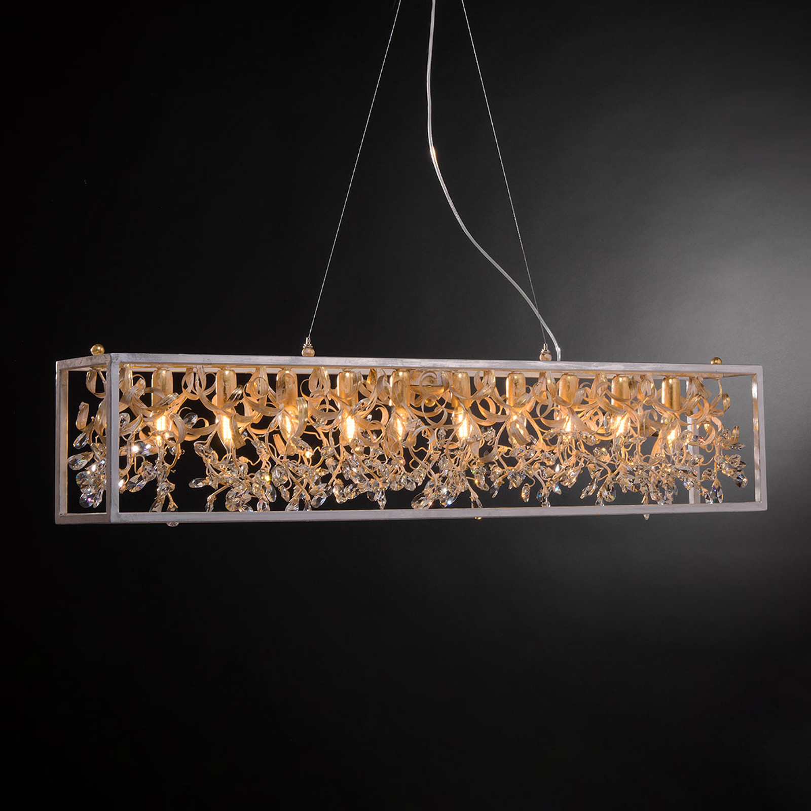 Hanglamp 3333/10 S, 10-lamps met kristallen