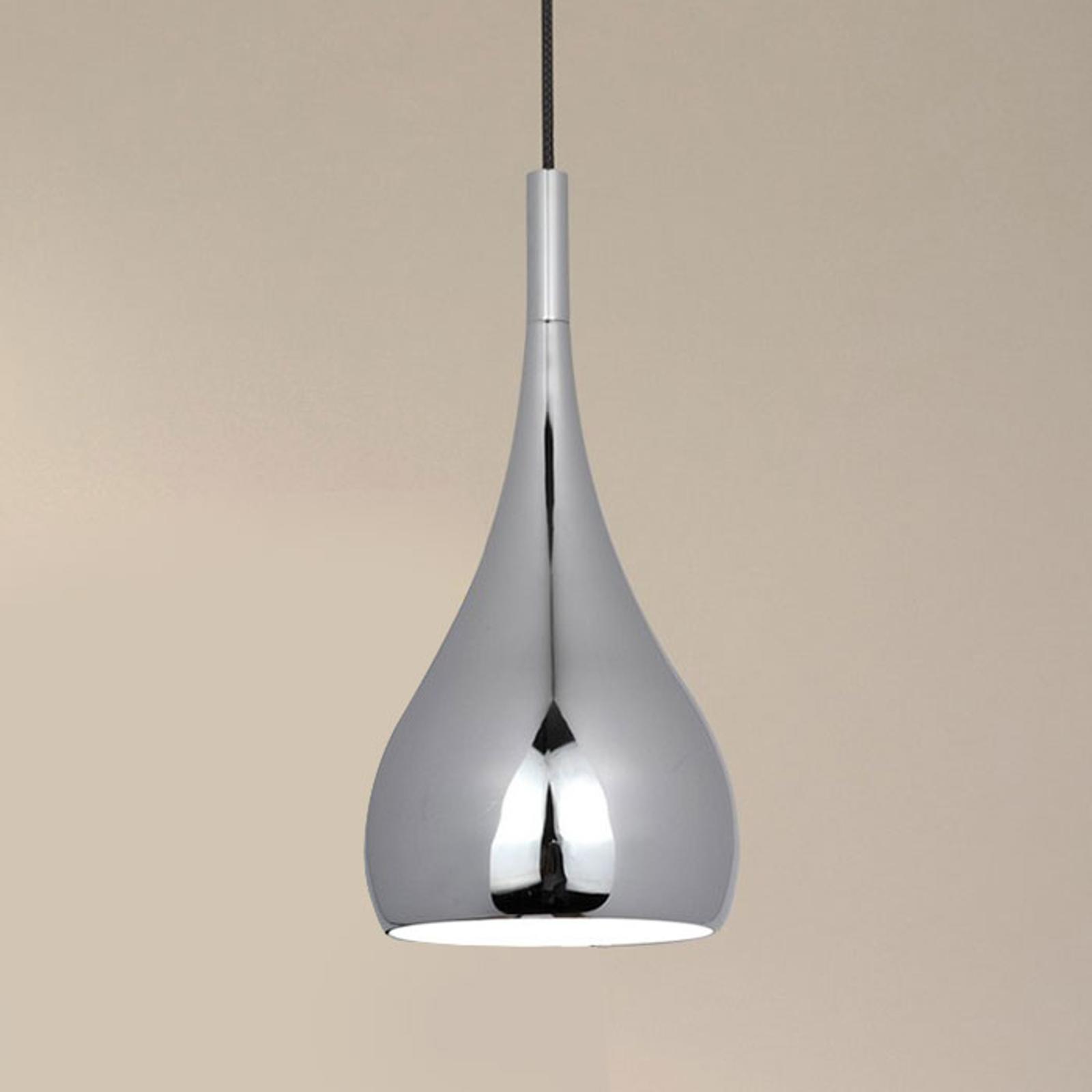Retro - metalowa lampa wisząca w kolorze chromu