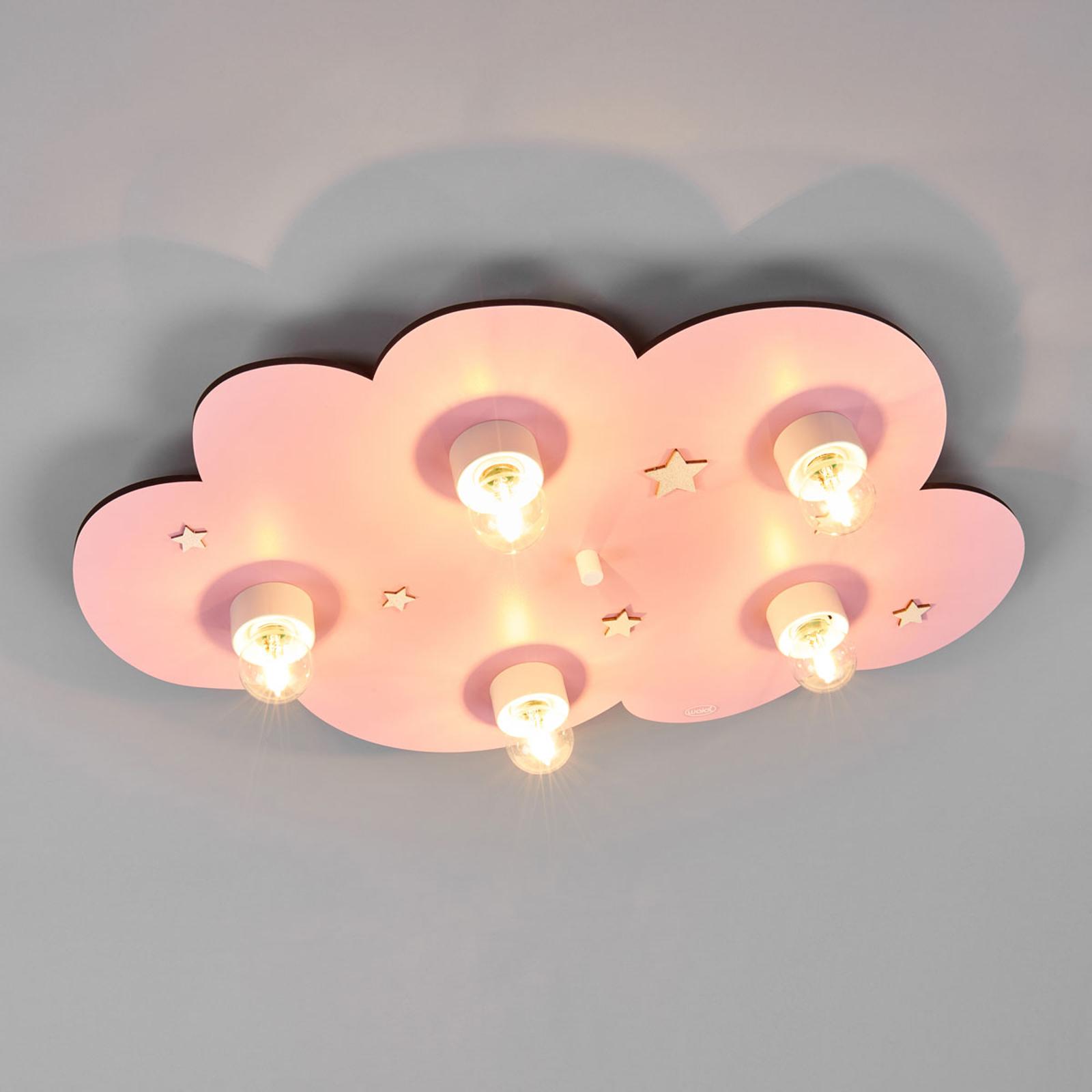 Fantastische kinderplafondlamp WOLK roze