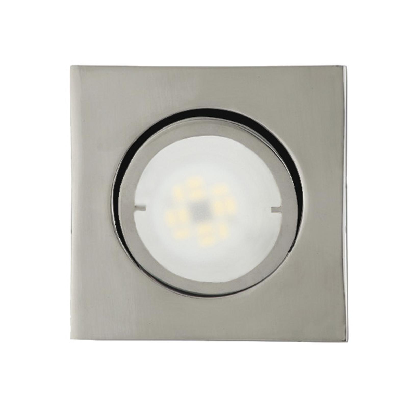 Hoekige LED inbouwlamp Joanie, chroom