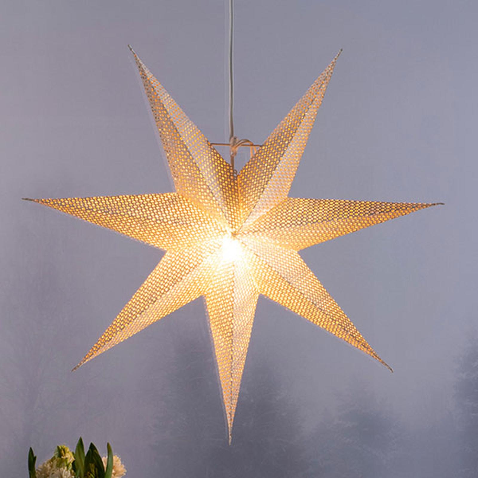 Étoile déco en papier blanc, motif perforé, 7 bras