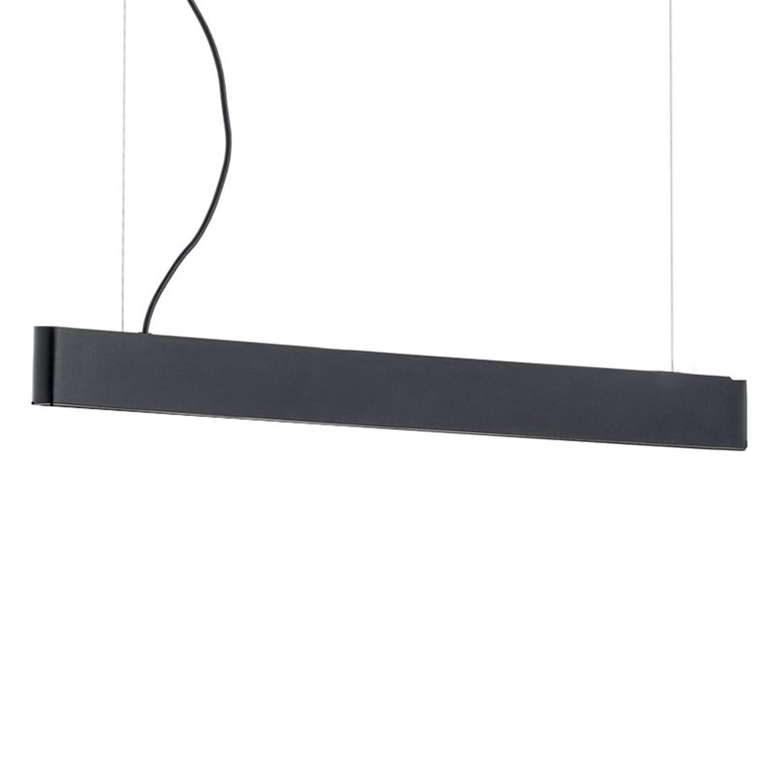 Abbon LED-pendellampe, træskærm, sort, 90 cm
