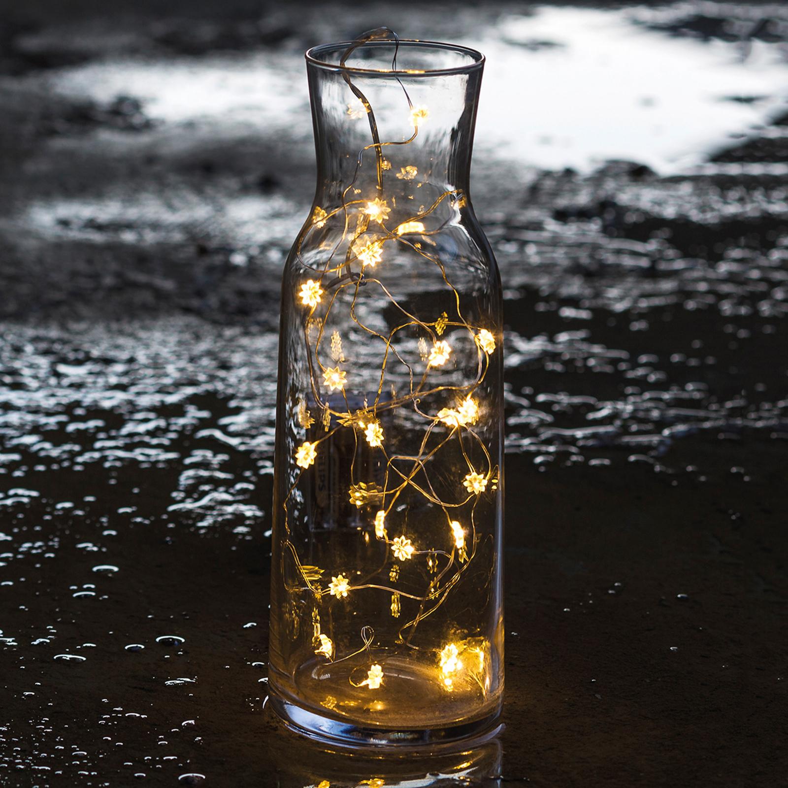 LED-ljusslinga Silke med blommor, 20 ljus