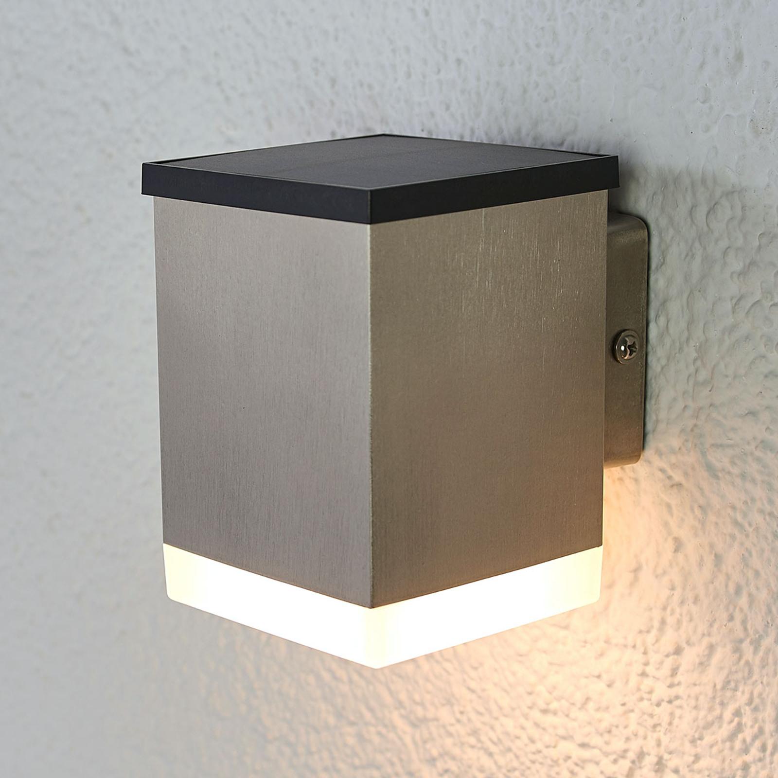 Applique LED solare Tyson angolare, satinata