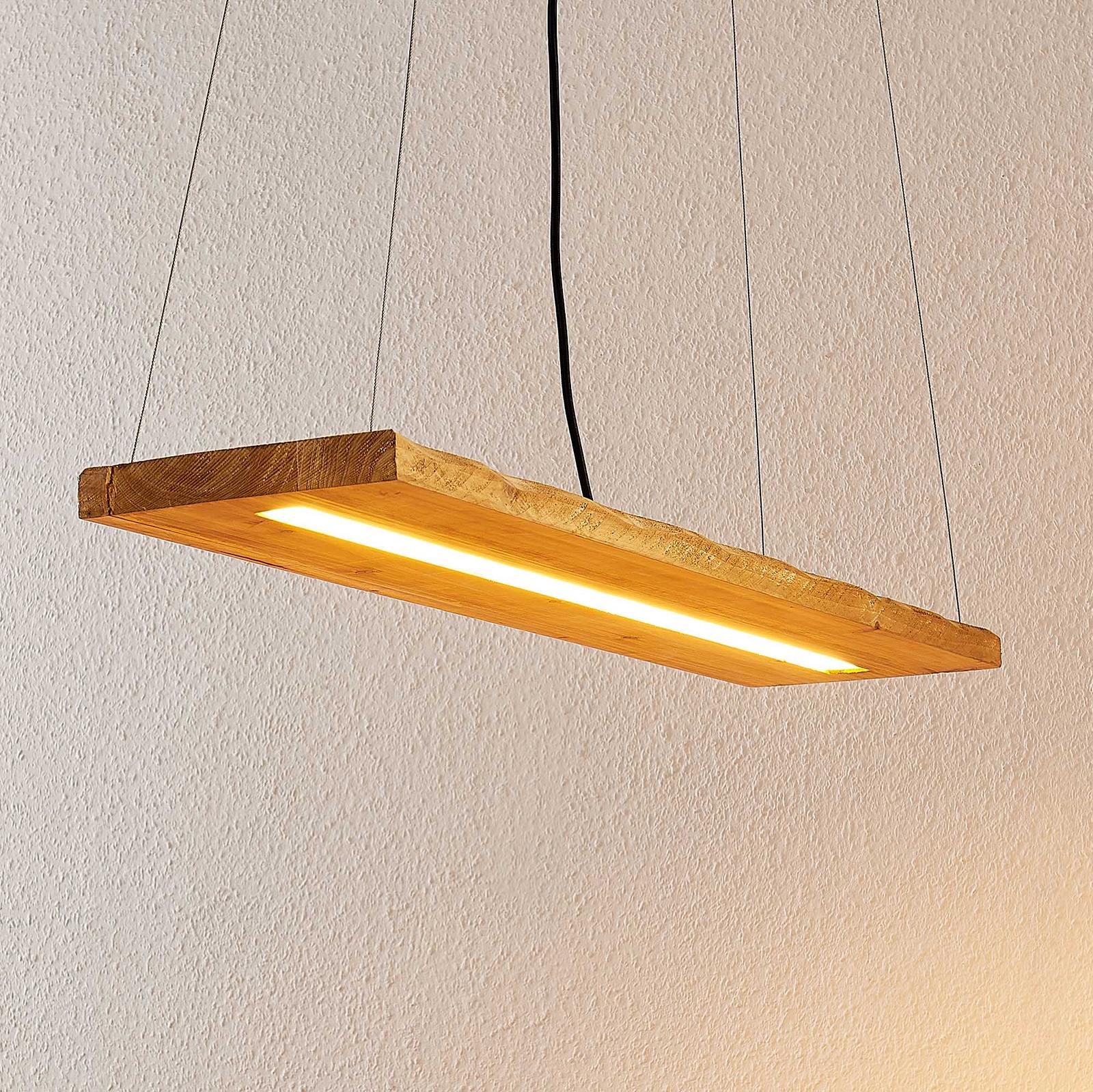 Lindby Nesaja lampada LED a sospensione di legno