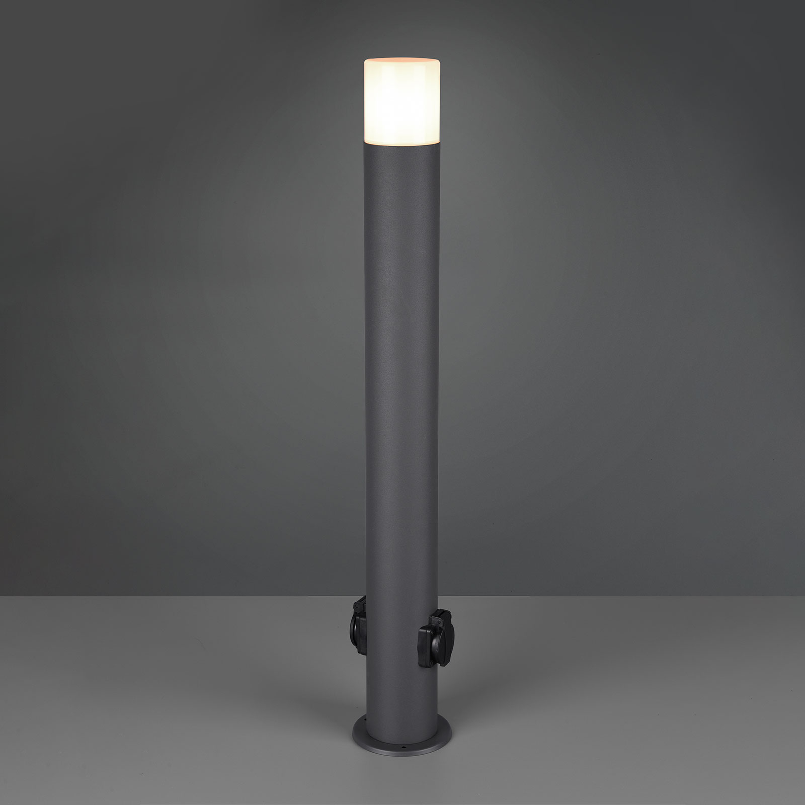 Hoosic gadelampe med stikkontakt, antracit