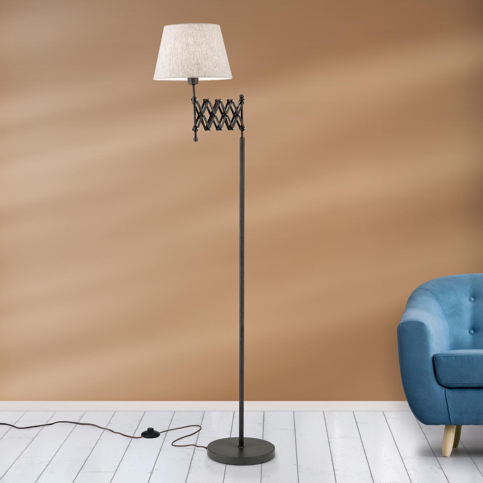 Lampa podłogowa Factory z lnianym kloszem