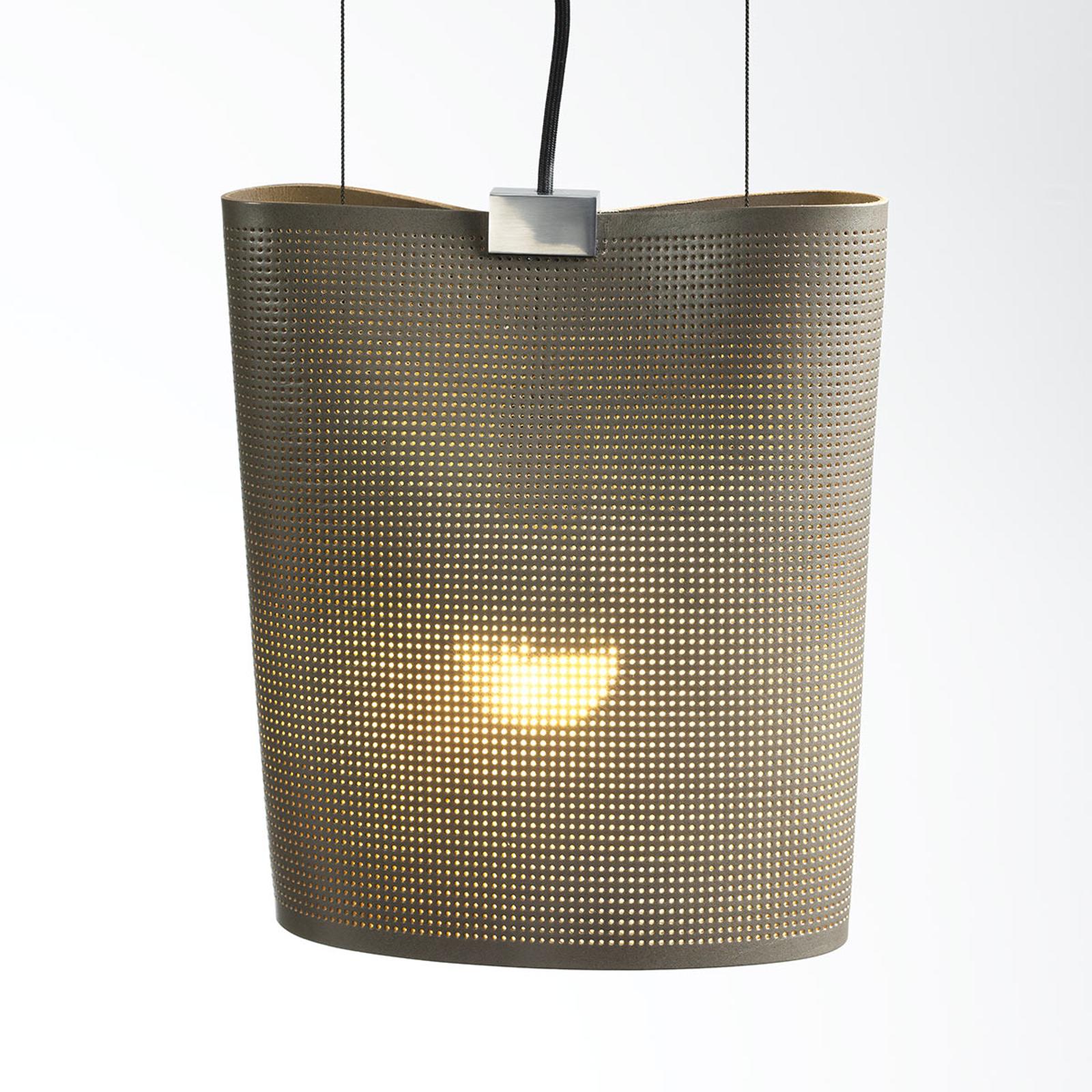 Hanglamp Sarto van kernleer, taupe