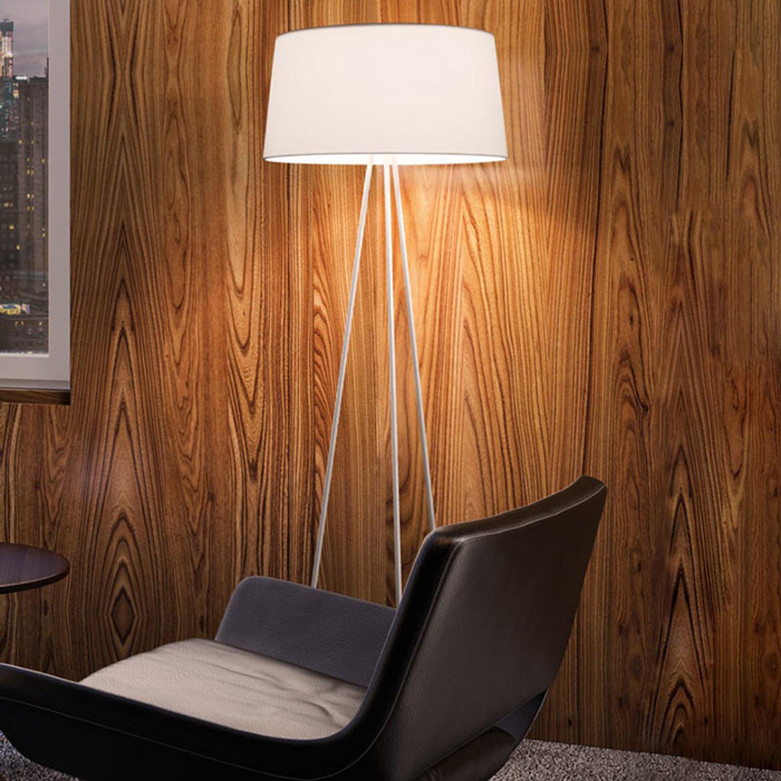 Lampa stojąca Tripod kremowa stelaż szary