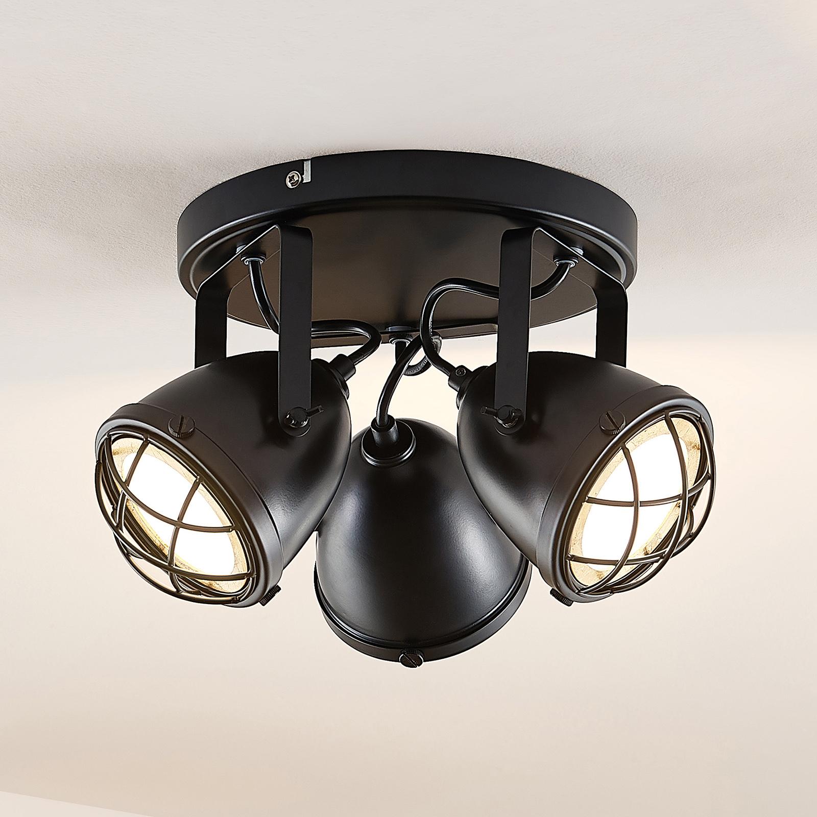 Lindby Biona LED-takspot med gullring, 3 lyskilder