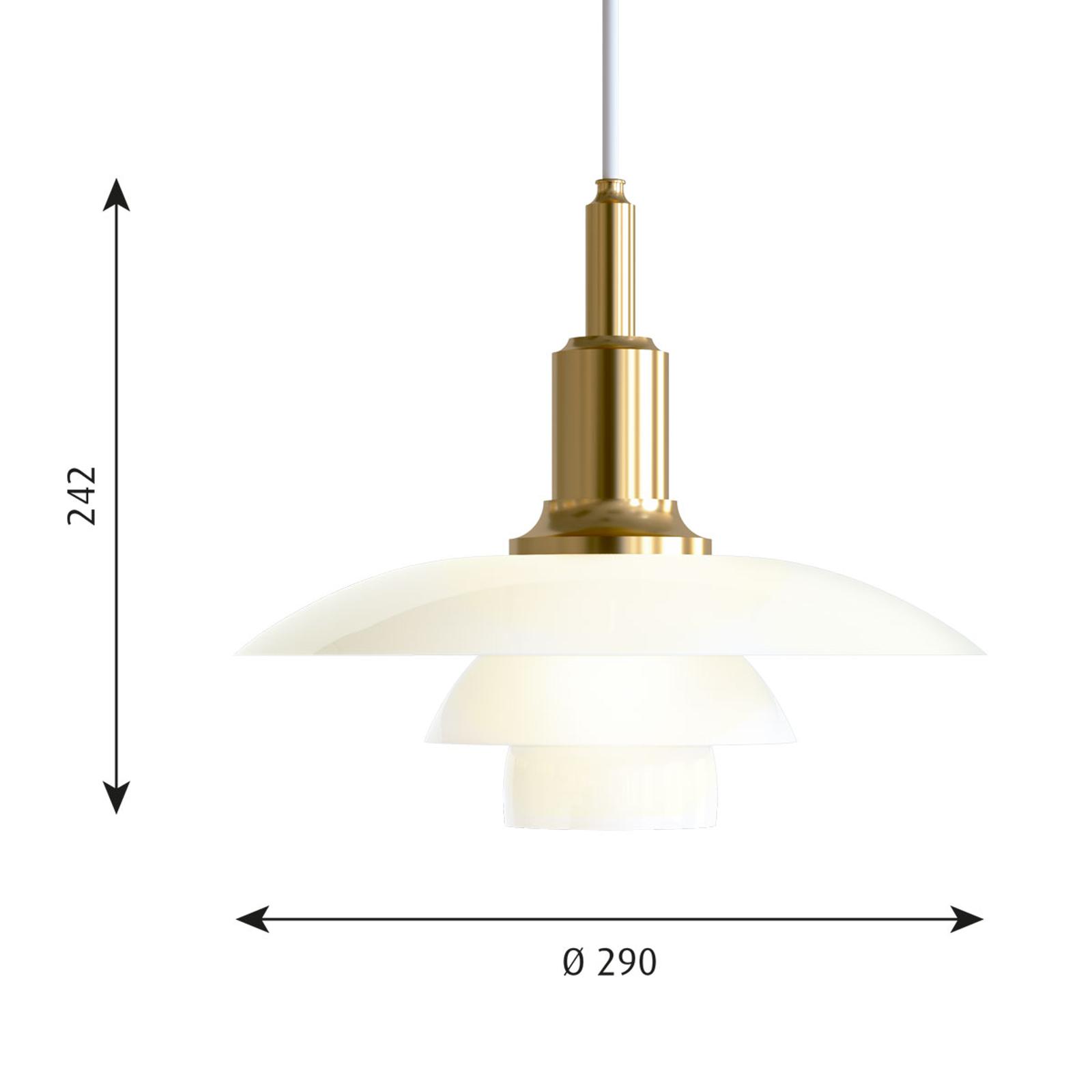 Louis Poulsen PH 3/2 glazen hanglamp messing-wit