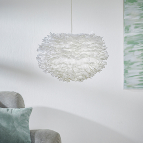 Suspension en plumes d'oie Eos medium, blanc