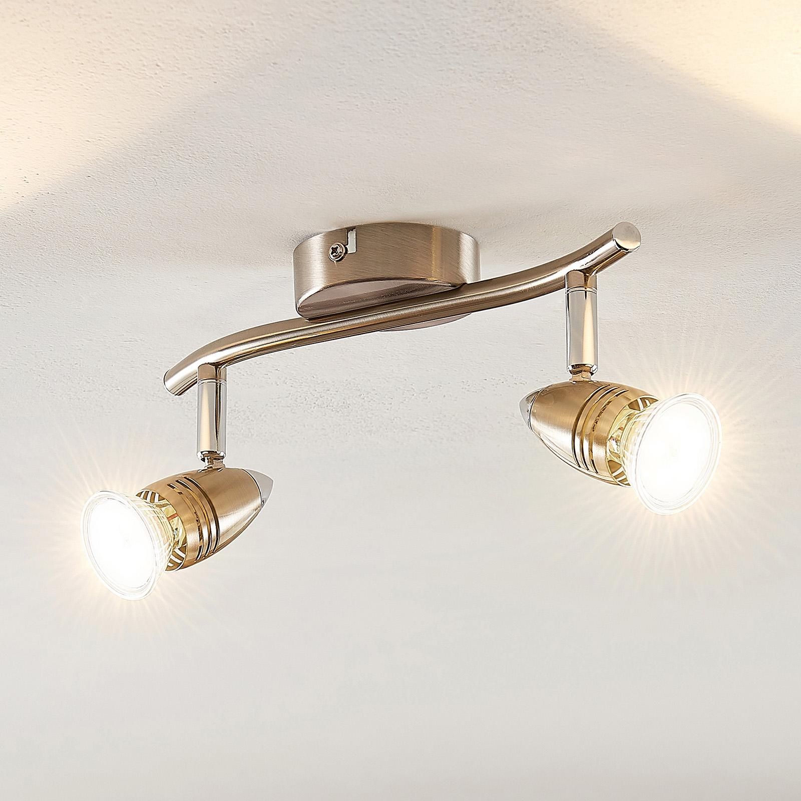 ELC Kalean LED ceiling spotlight, nickel, 2-bulb_9950857_1