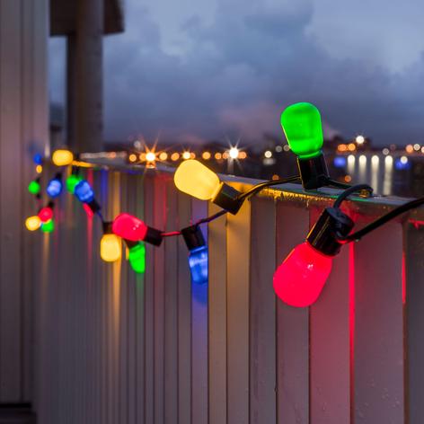 Catena luminosa Biergarten 40 LED opali colorati