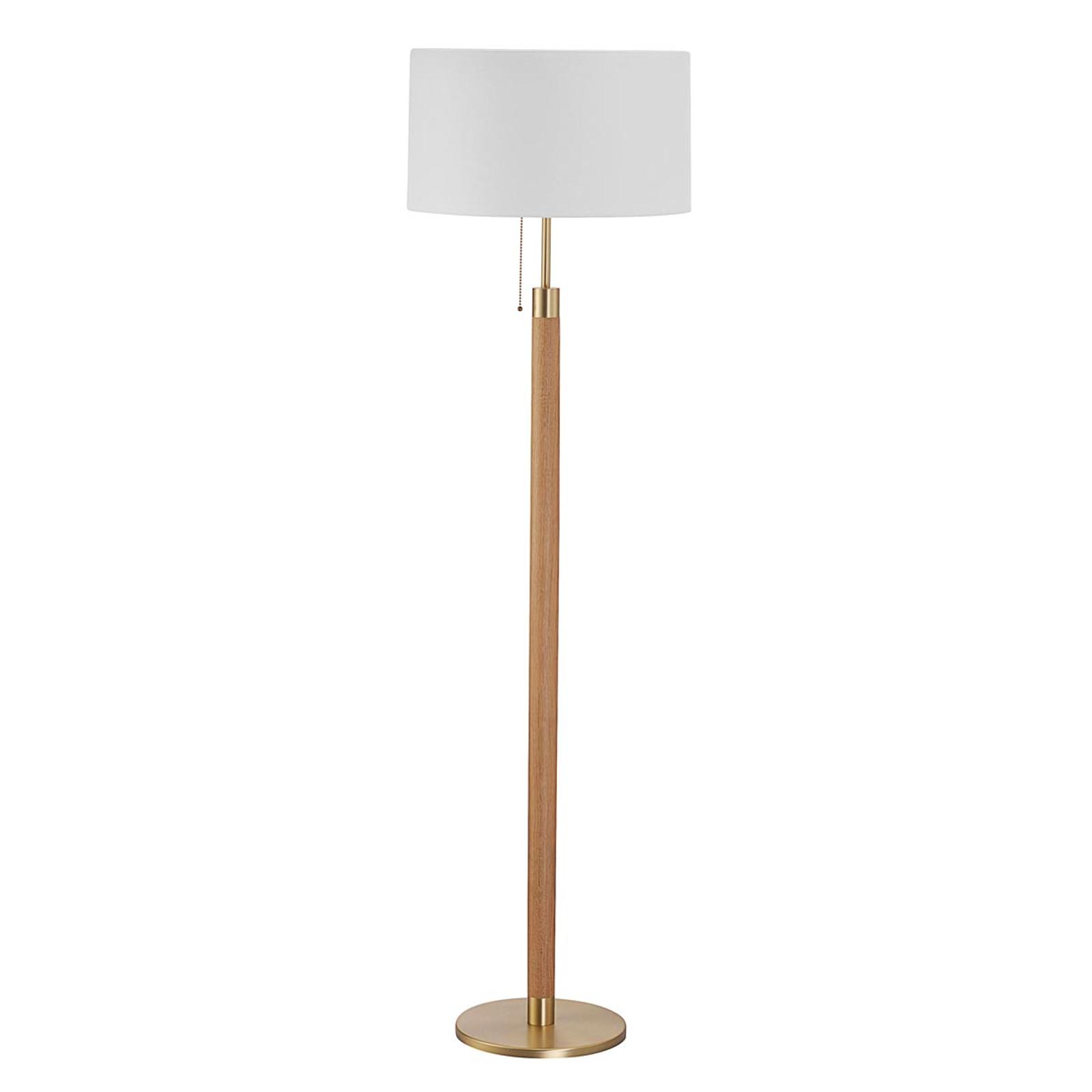 Drewniana lampa stojąca LIGNUM z abażurem