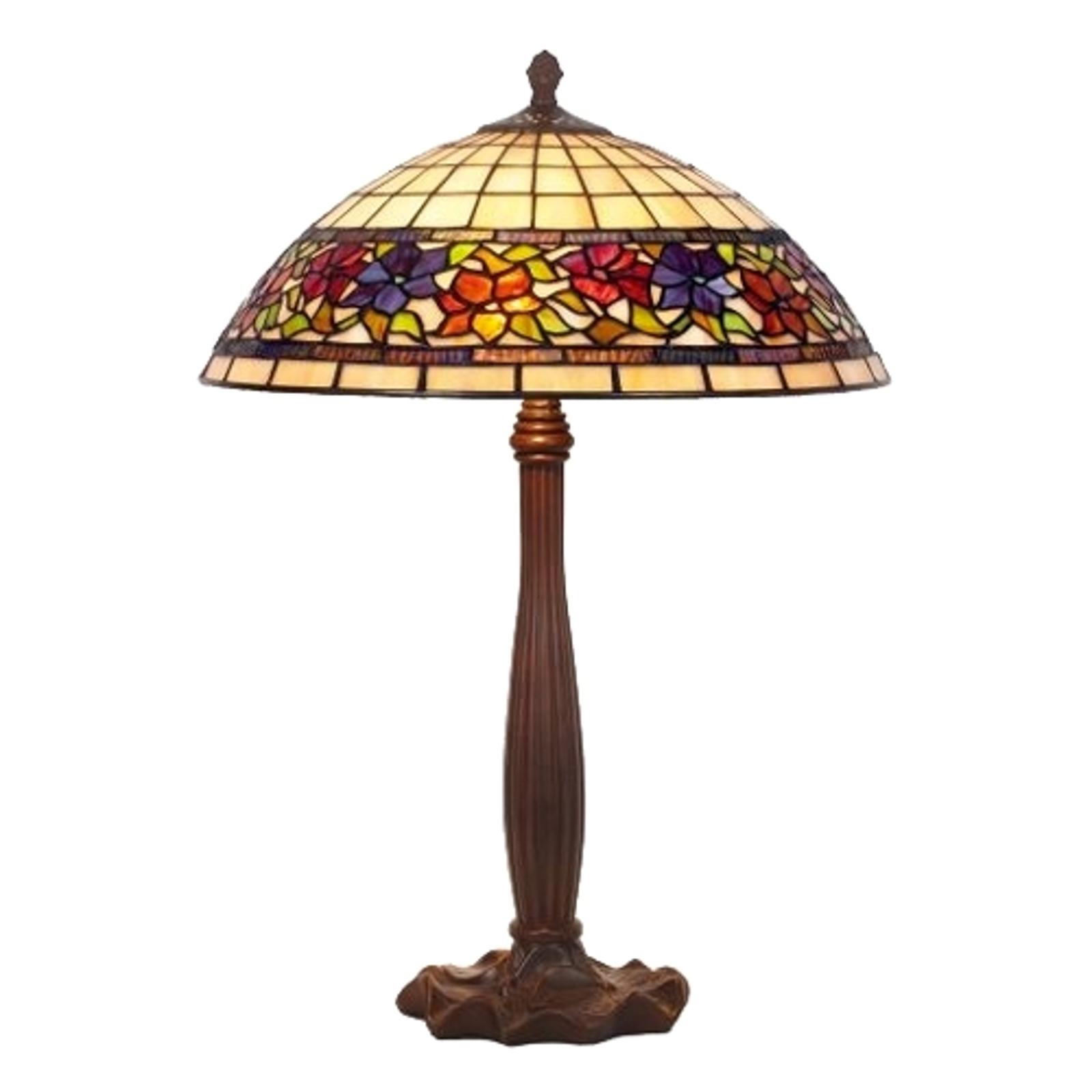 Stolní lampa Flora, Tiffany, dole otevřená, 64cm