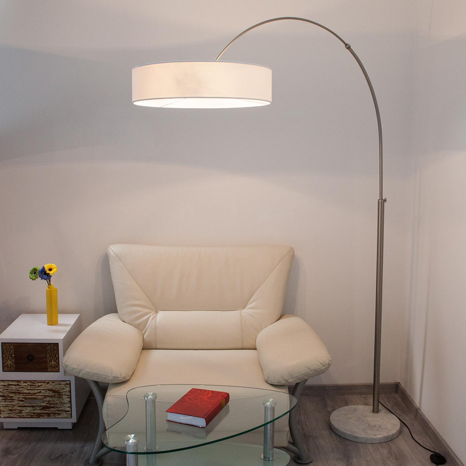 Lámpara de pieShing con pantalla de tela blanca