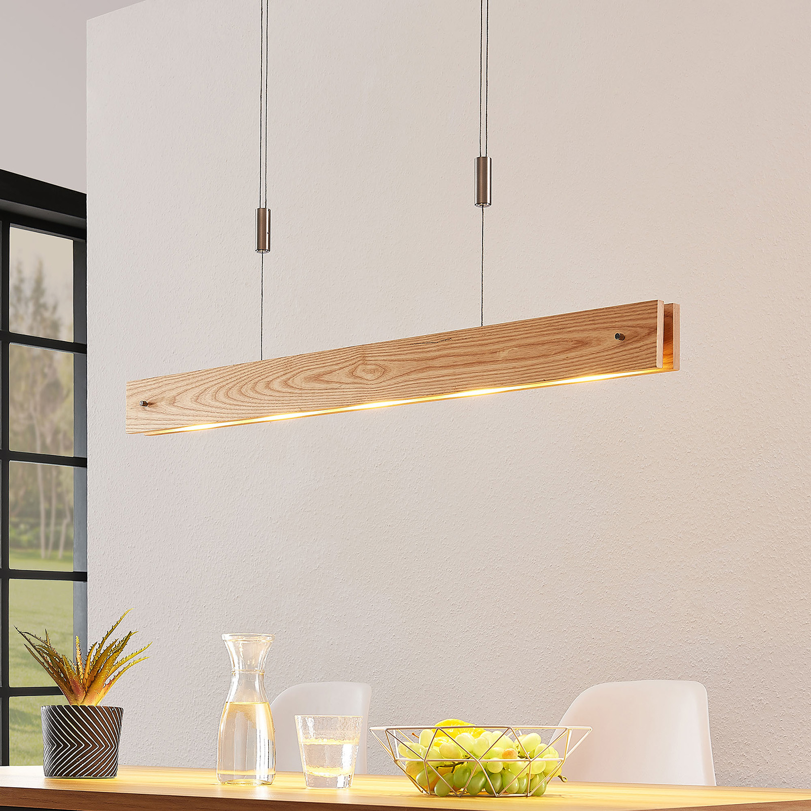 Suspension LED en bois Karinja, variateur, naturel