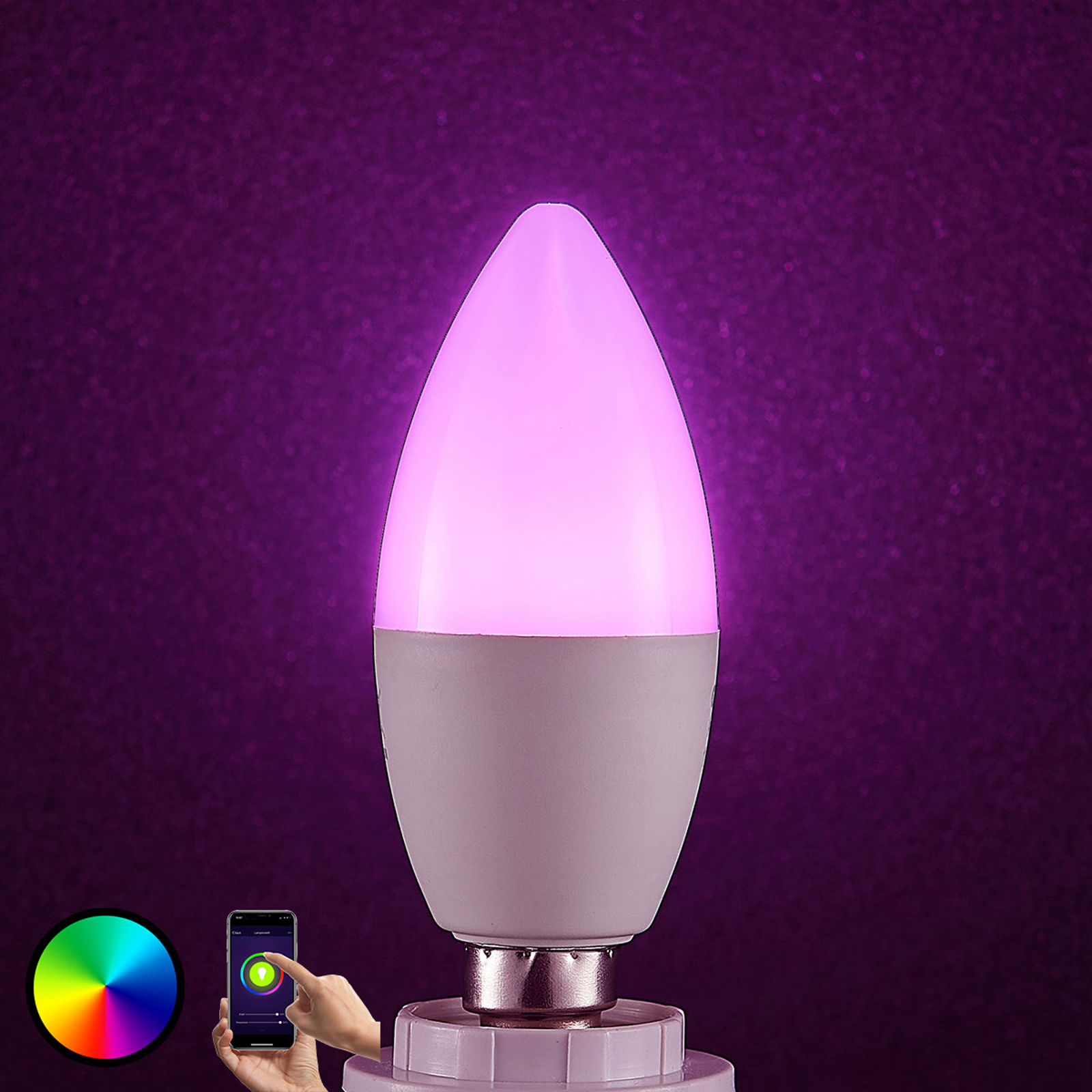 Lindby Smart LED-lamppu E14 4,5 W RGB kynttilä