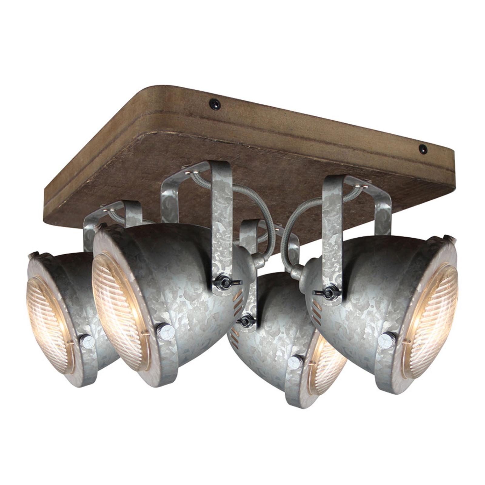 Plafondlamp Woody, gegalvaniseerd, met 4 lampjes