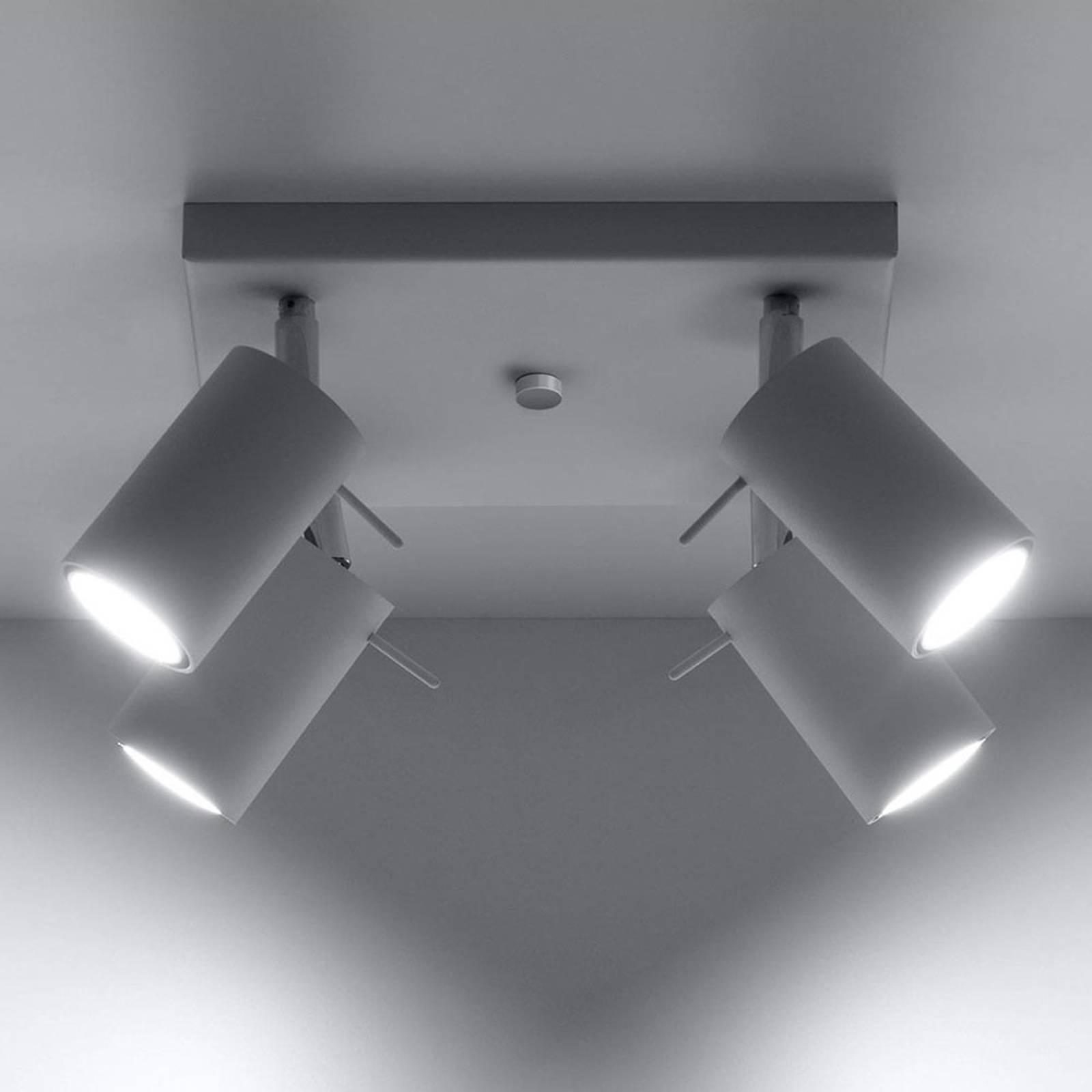 Deckenstrahler Round, weiß, vierflammig Quadrat