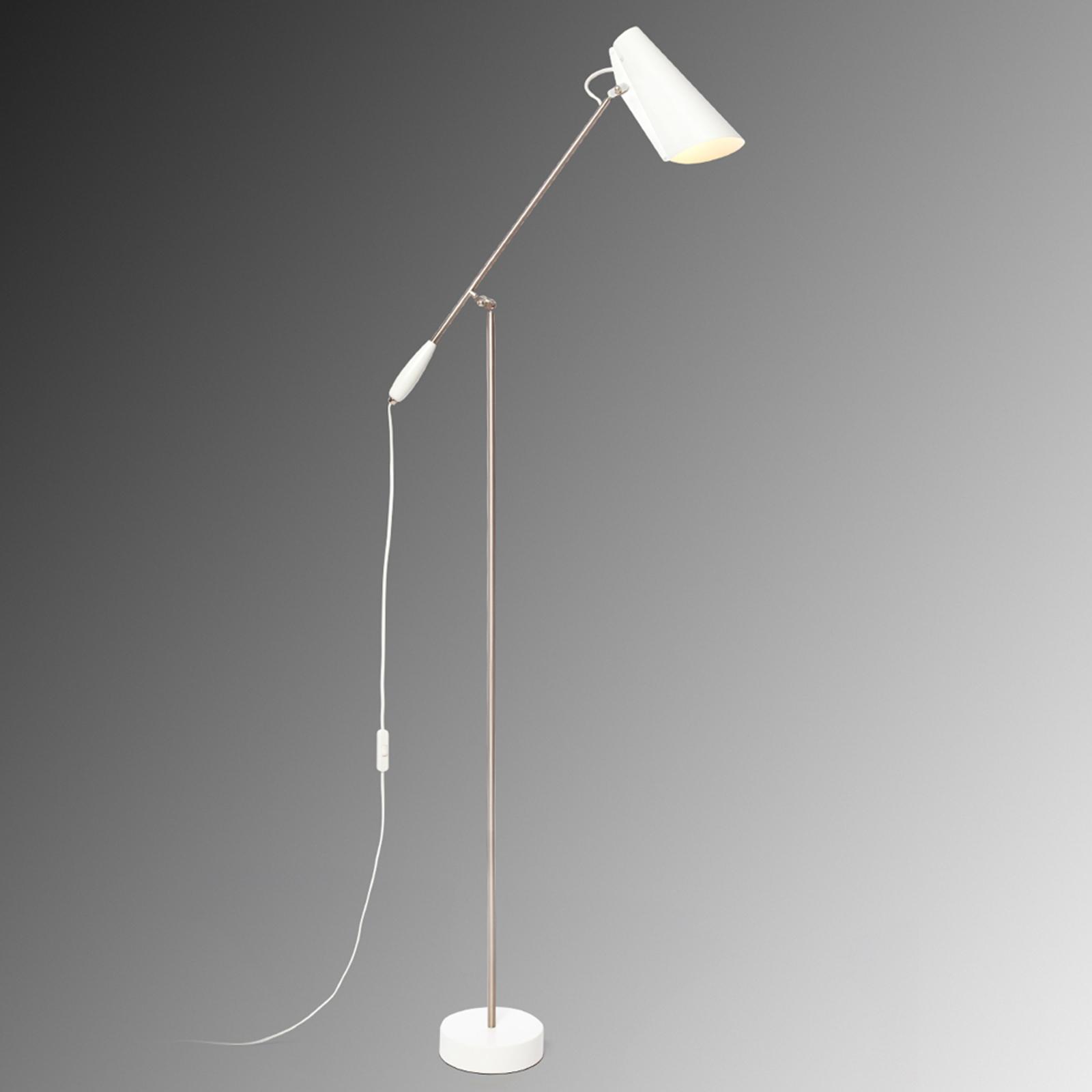 Biała lampa stojąca BIRDY w stylu retro