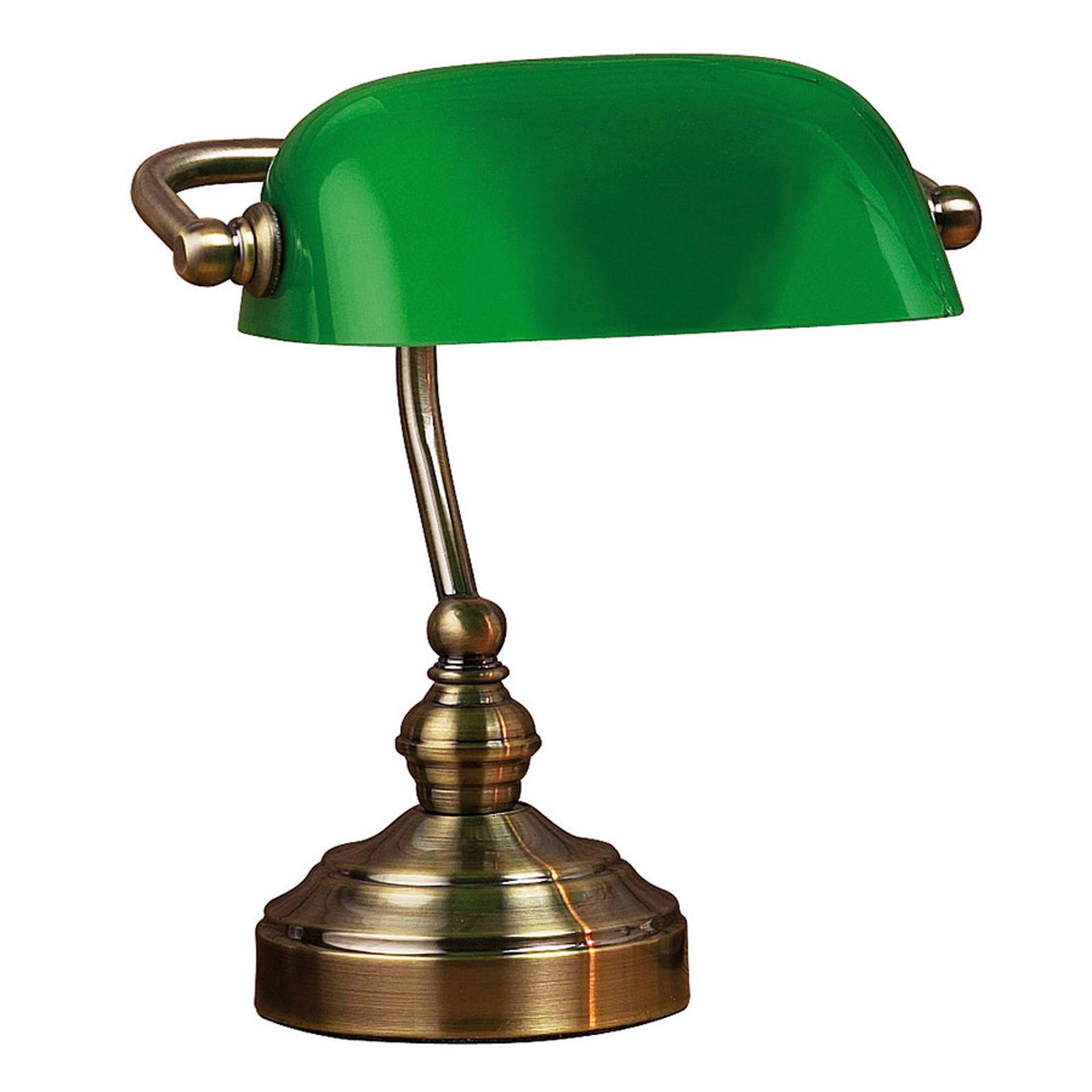 Lampa stołowa Bankers, wysokość 25 cm zielona