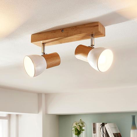 Dřevěná stropní lampa Thorin, dvoubodová
