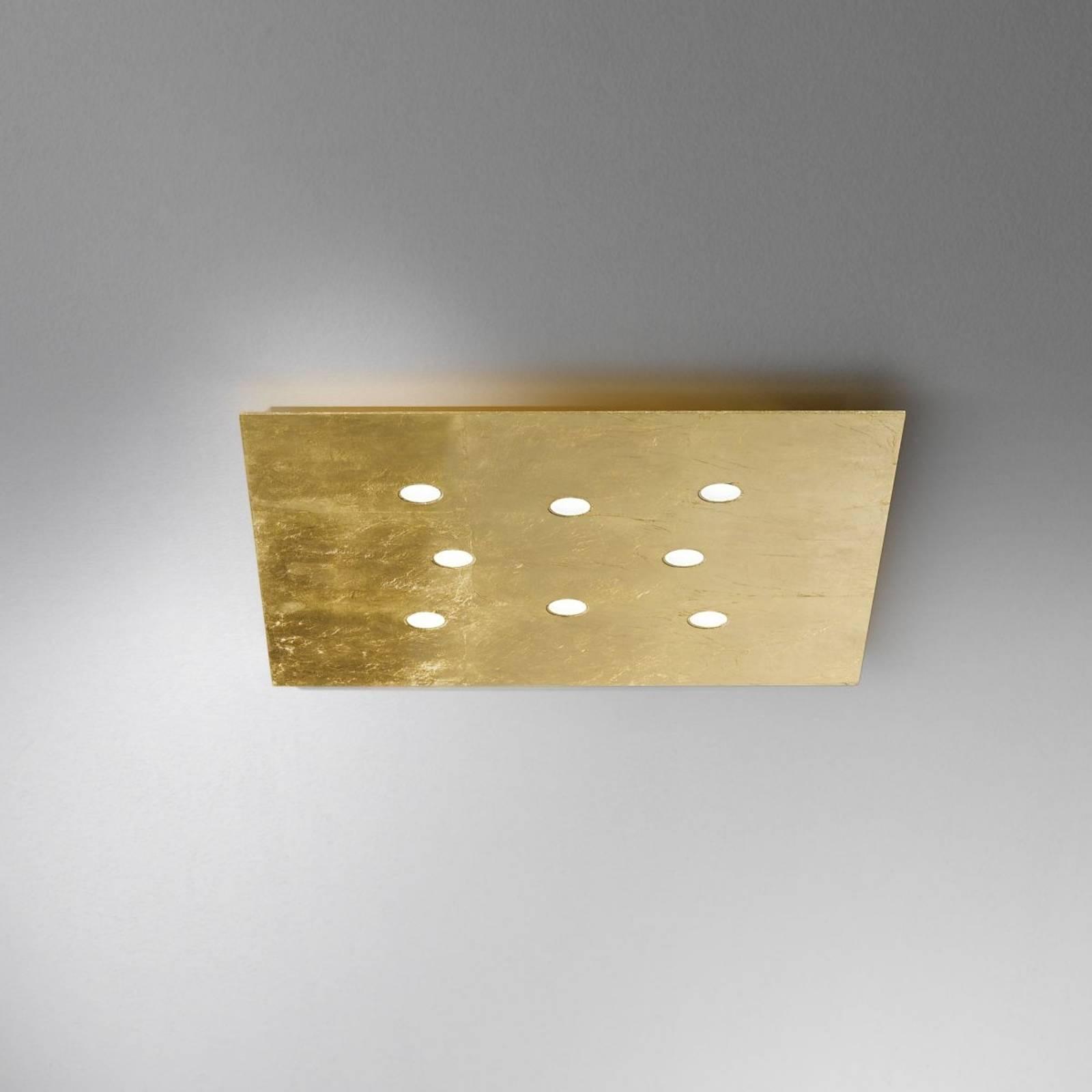 Płaska lampa sufitowa LED Swing 8-punktowa złoto
