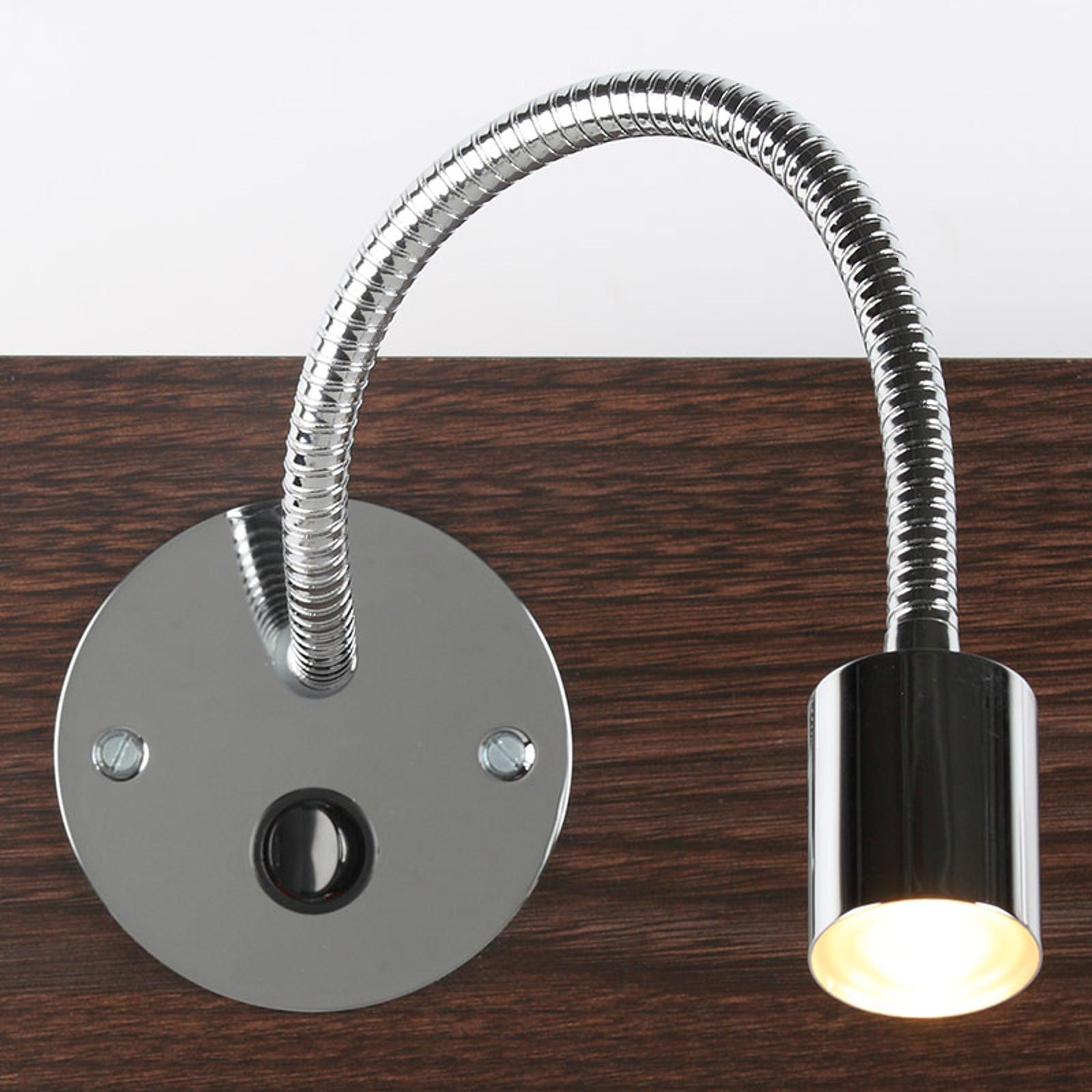 LED innfelt vegglampe LD-19 fleksibel arm, krom
