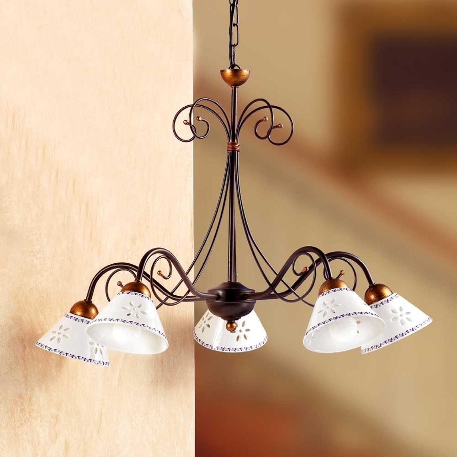 Romántica lámpara colgante LIBERTY 5 luces