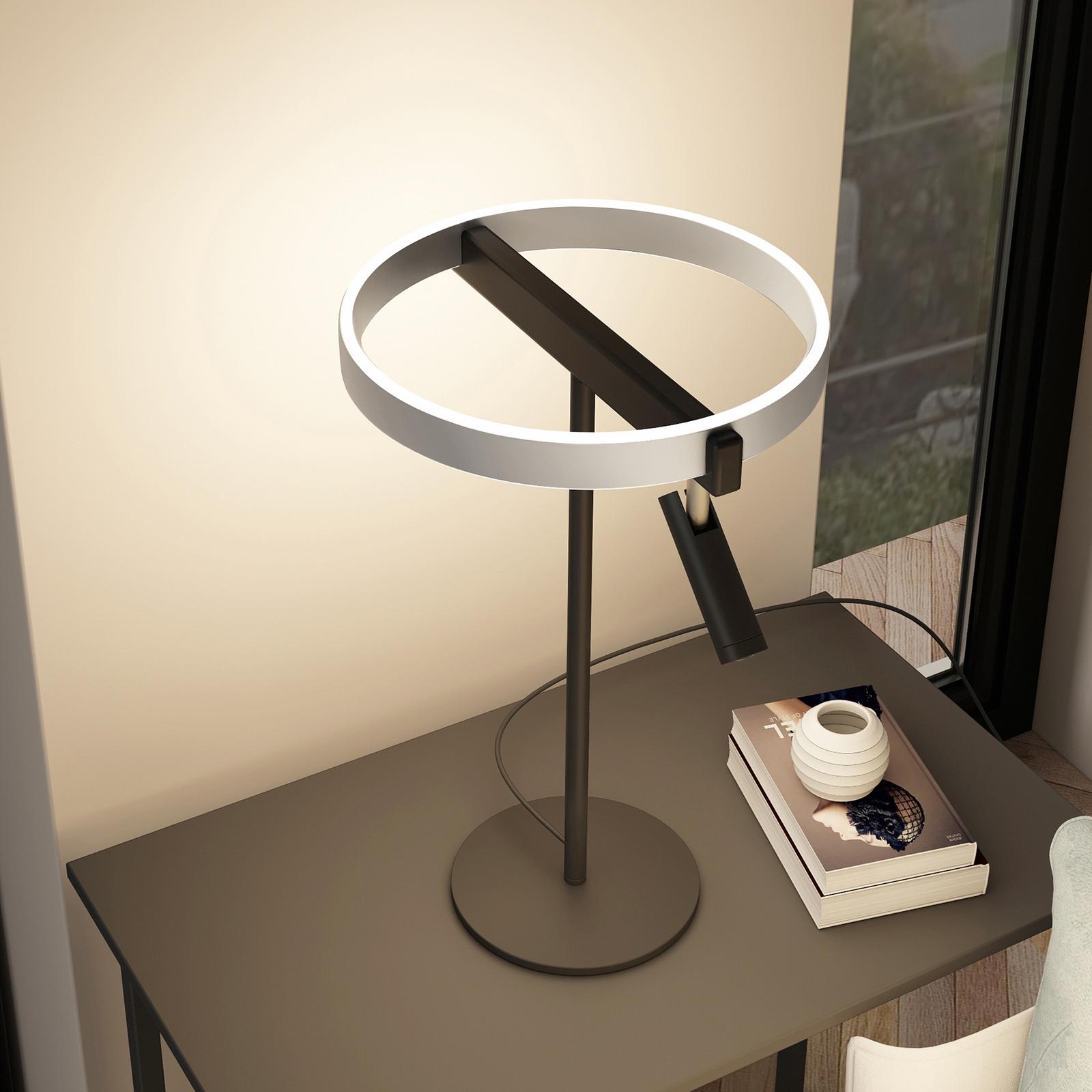 Lucande Matwei LED-bordlampe, ringformet, nikkel