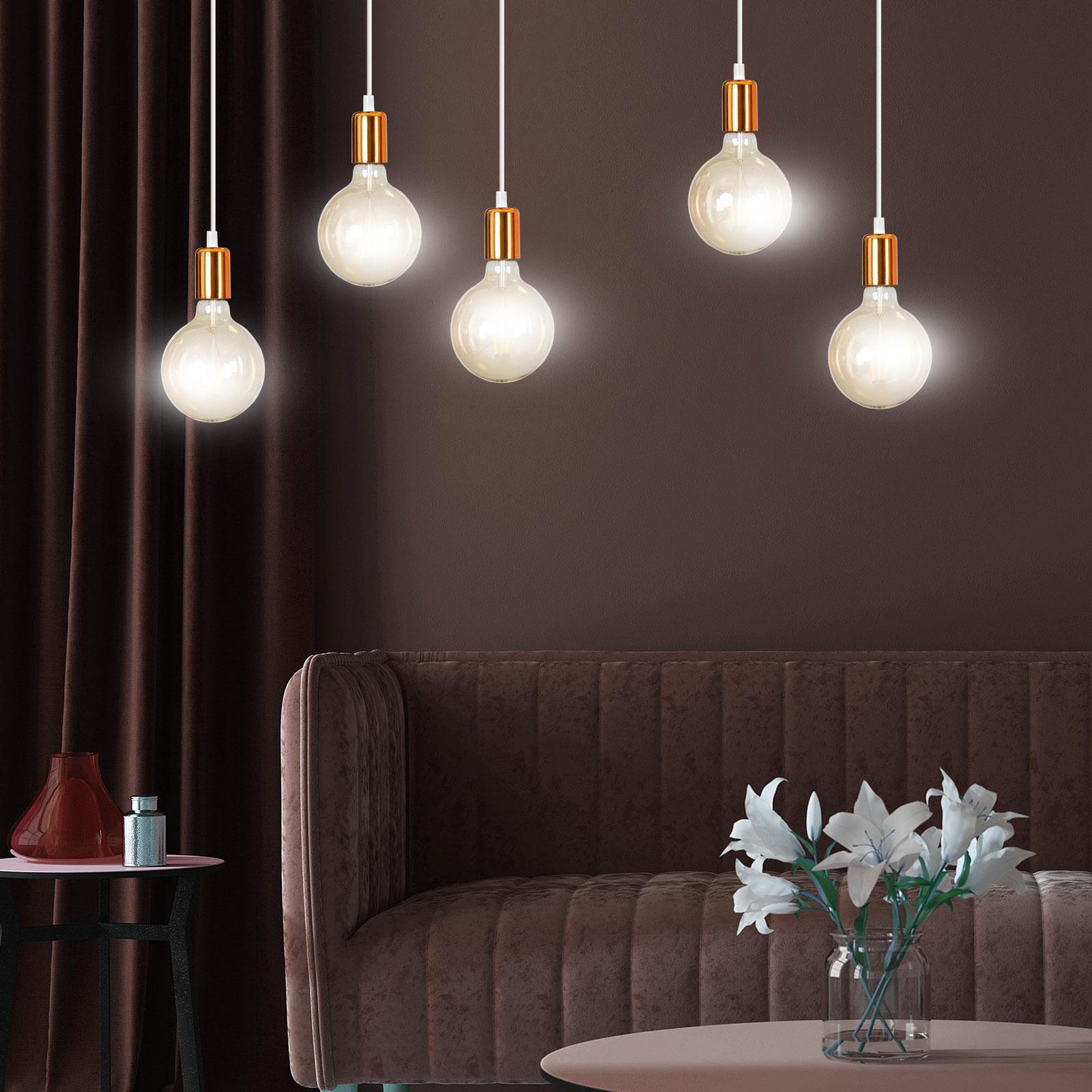 Hanglamp Spark 5 5-lamps in wit/koper