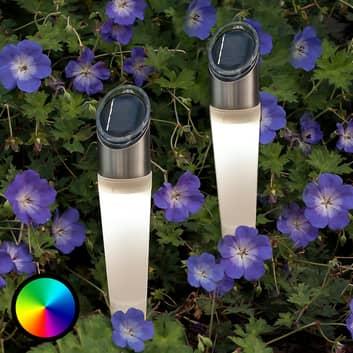 RGB-LED solar-grondspies lamp Assisi in 2per set