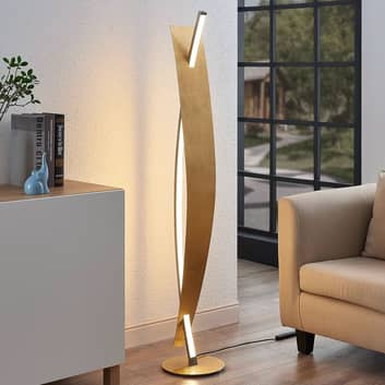 LED stojací lampa Marija, elegantní zlatý vzhled