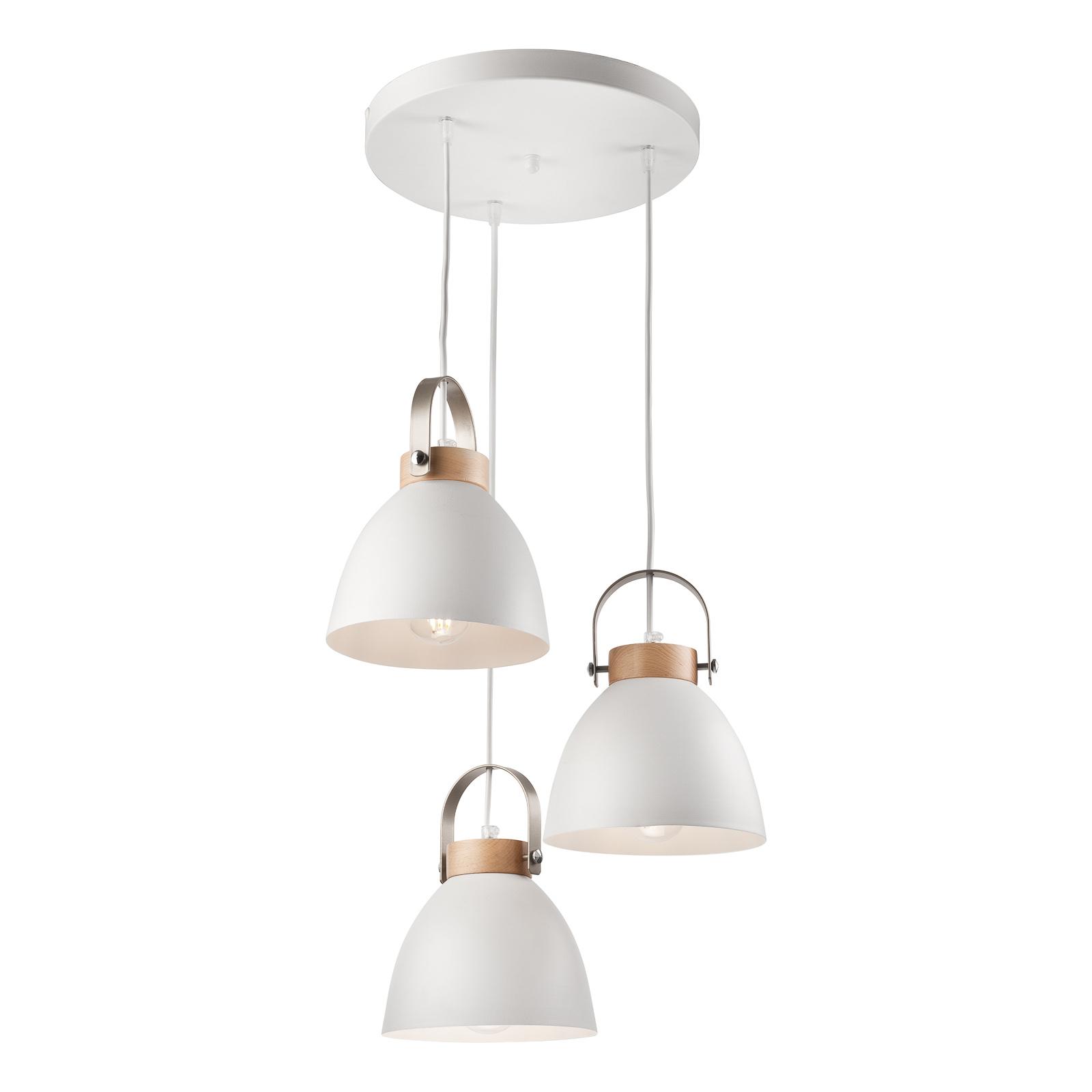 Suspension Bergen à 3 lampes, ronde, blanche