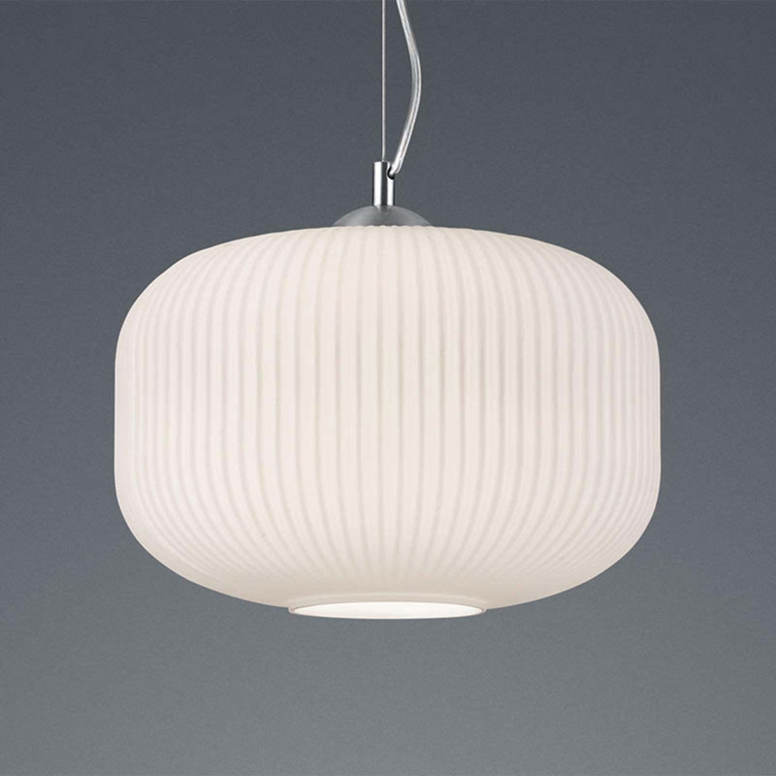 Hanglamp Kilian met glazen kap, wit