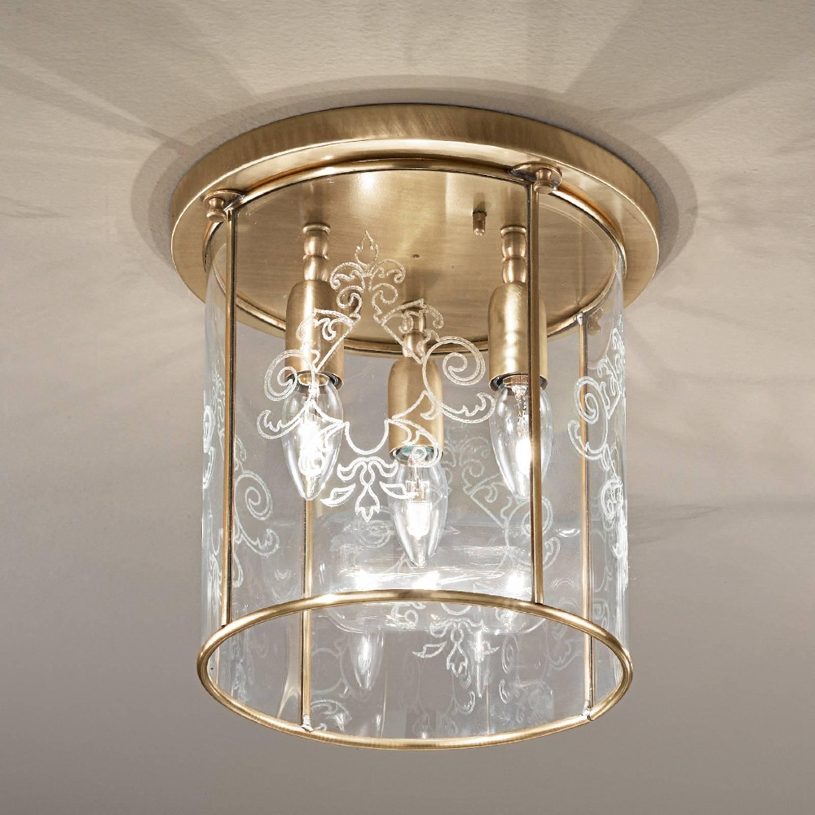 Bronze plafondlamp Greta, 3-lichts