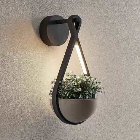 Lucande Florka LED-Außenwandleuchte, Blumenampel