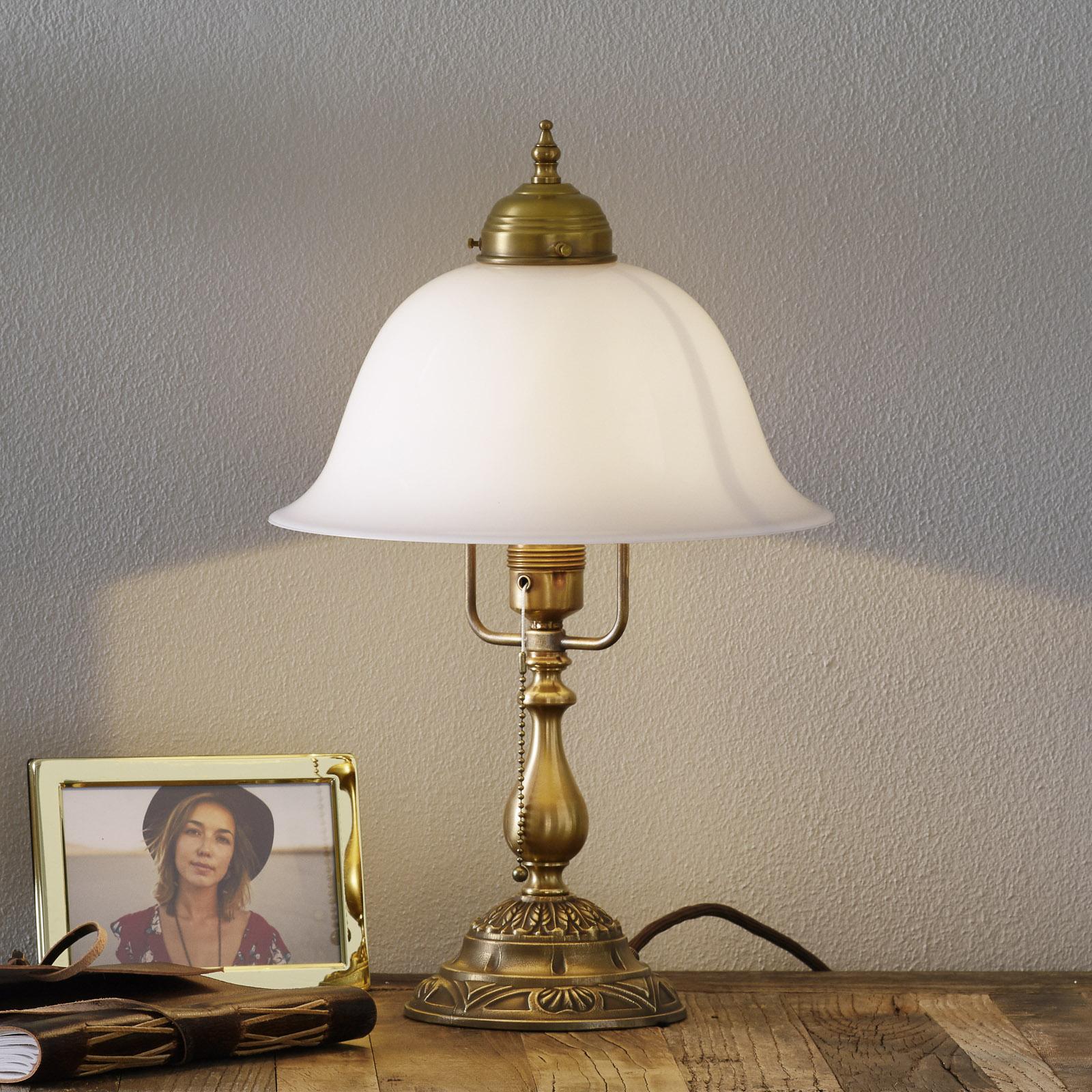 Lampada da tavolo Carolin in ottone decorato