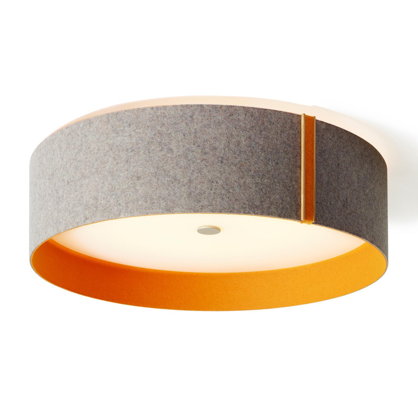 Lara felt - Vilten LED plafondlamp, grijs-oranje