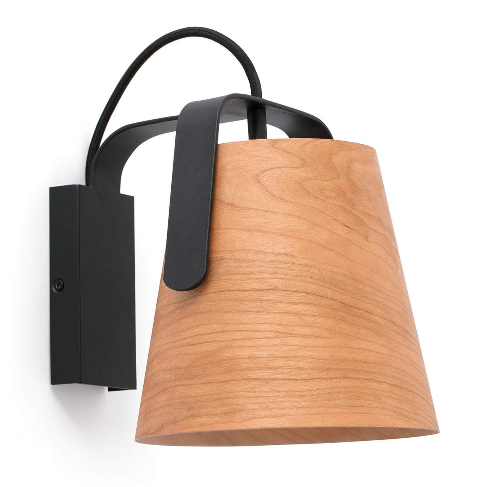 Vägglampa Stood med skärm av körsbärsträ