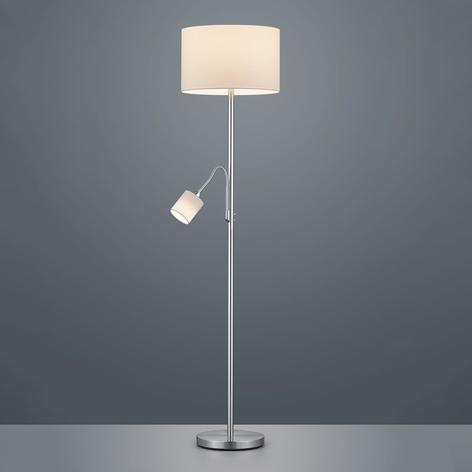 Stehlampe Hotel mit Leseleuchte, Schirm weiß