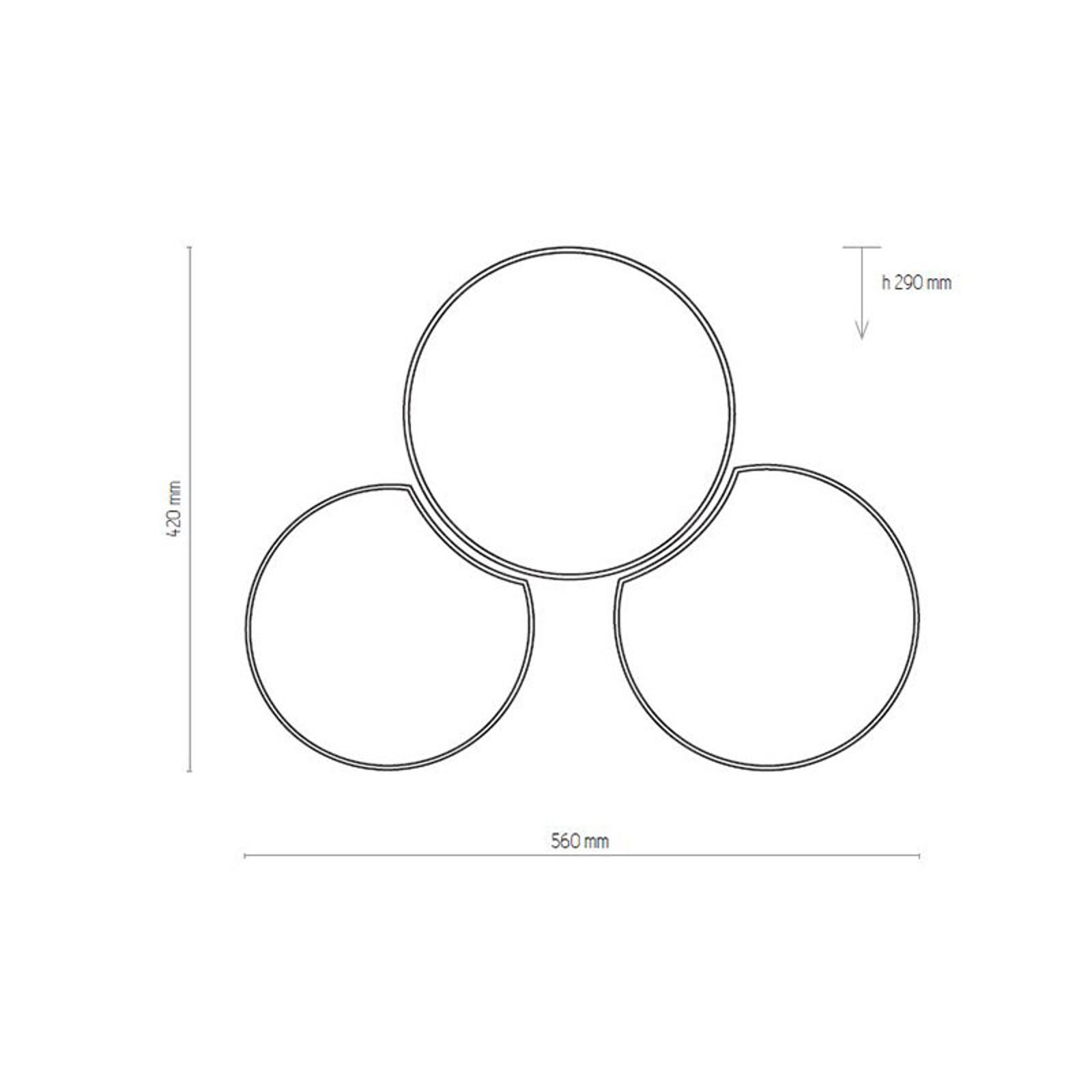 Lampa sufitowa Mona, 3-punktowa, czarna/złota