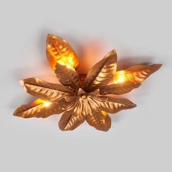 Loftlampe Fleuria af metal, antik guld
