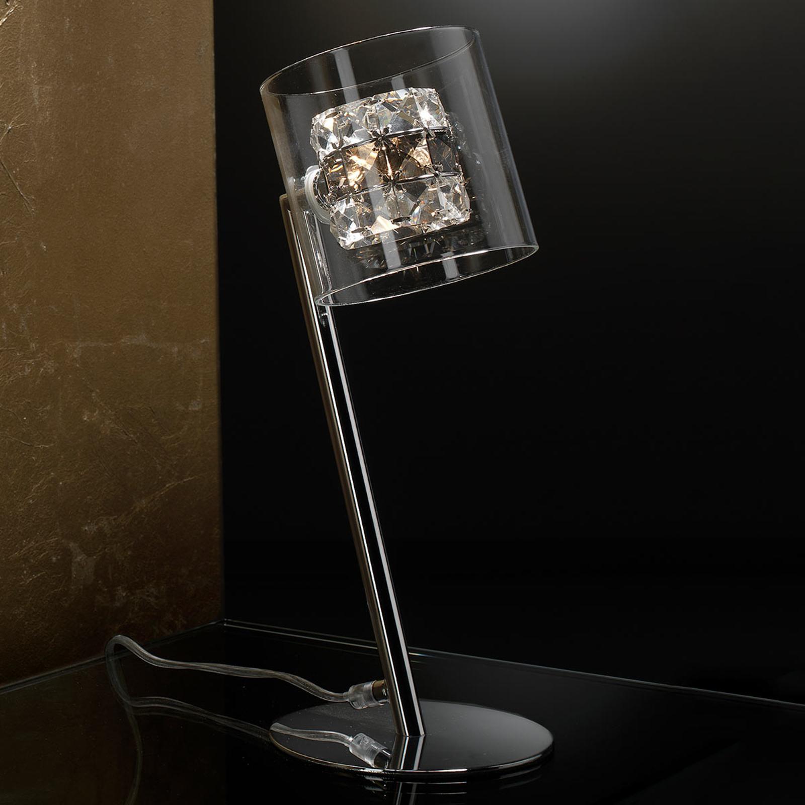 Lampe à poser LED Flash avec anneaux en cristal