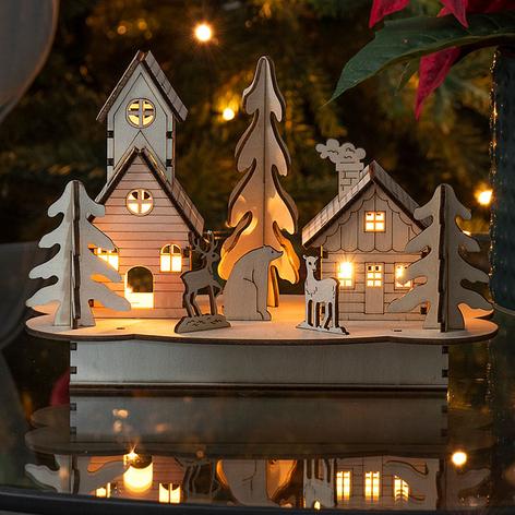 Hus og Træ LED-adventsstage