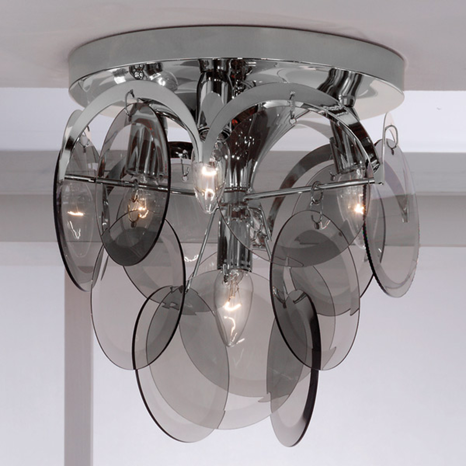 Røykfarget dekorbeheng - taklampe Carolo, 4 lys